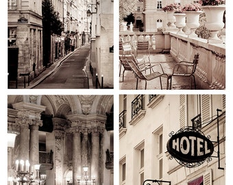 Paris Photography Set - Classic Paris Sepia Collection, French Fine Art Photographs, Urban Wall Decor,  Large Wall Art