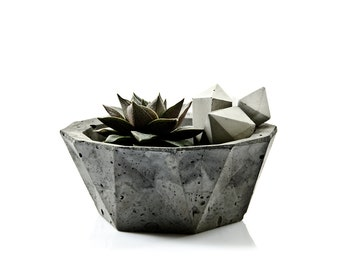 Geometric Concrete Bowl, minimalist monochrome concrete decor, scandinavian modern hygge home, cement planter, concrete candel holder