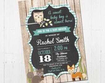 Woodland baby shower invitation, baby boy woodland, forest baby shower invitation, forest animals invite, digital, Printable Invitation
