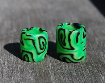 FREE Shipping ! TWO UV Dread beads for medium dreads Polymer Clay