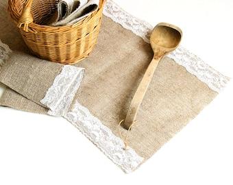 Light Brown Burlap Linen Table Runner with White Lace, Handmade Linen Table Cloth, Wedding Decor, 100% Pure Burlap Linen