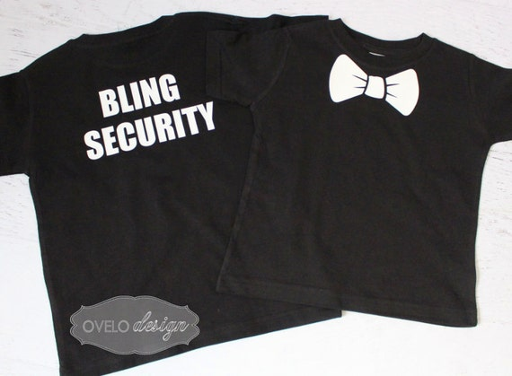 Bling Security Ring Bearer T-shirt on Back Bow Tie on Front