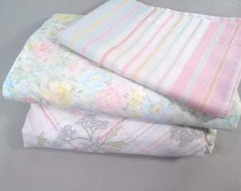 Vintage twin sheets, mix and match sheets, remixed sheets, shabby chic sheets, pastel sheets, floral and striped sheets, pastel flower sheet