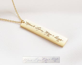 Mother's necklace / Personalized Handwriting Bar Necklace / Engraved Signature Bar Necklace / Actual Handwriting Bar Necklace / - HN11