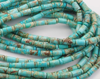 Turquoise Barrel and Rondelle Bead Strand 10x6mm - One 16 Inch Strand
