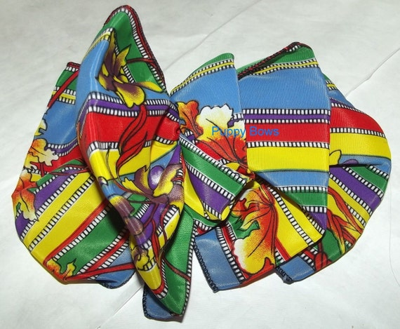 Becky's scarf bows French Barrette Hand crafted GIANT huge hair bow Women or Girls RAINBOW