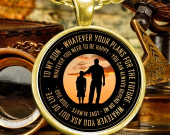 Father To Son Necklace Keepsake - You Can Always Depend On Me - Gold Plated Necklace - Free Shipping - (can be personalized and engraved)