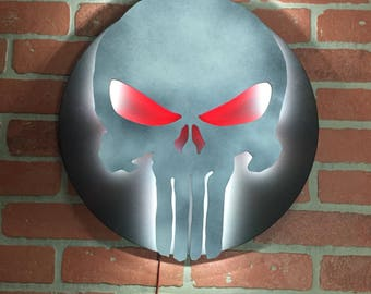 The Punisher Comic Book Superhero Illuminated Neon LED Skull Logo Wall Art for Mancave or anywhere else!