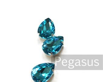 Aquamarine Blue Glass crystal tear drop gems (9 color options) flatback jewel for costume jewelry,elven cosplay,wedding favors,dragon larp