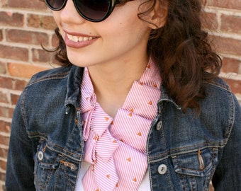 Women's Necktie Scarf - Preppy Scarf - Mothers Day Gift - Hipster Clothing - Pink Striped Lauren Scarf. 10