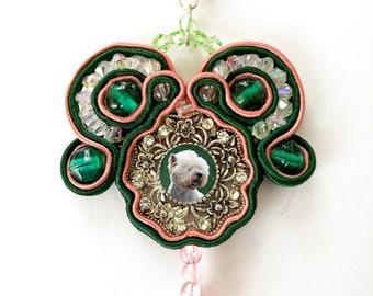 Sautache Photo Keepsake Necklace, Mauve and Emerald
