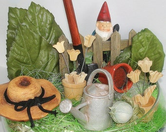 Miniature Gnome Garden Fairy Garden Hand Crafted Home Decor Centerpiece Table Decor One-of-a-Kind Many Accessories Well Secured