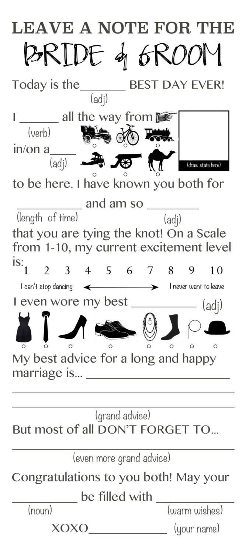 Wedding Mad Libs Game Printable File