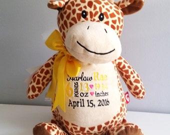 Personalized stuffed animal giraffe toy monogrammed baby personalized baby announcement stuffed giraffe monogrammed baby gift personalized baby gift new baby negle Gallery