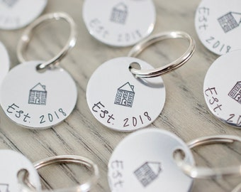 Established Keychain - First Home Keychain - Hand stamped Circle Key Chain Accessory