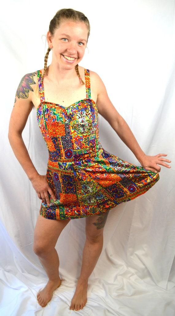 Playsuit Suit Swimsuit Tiki Summer 60s 1950s Rainbow Vintage Kahala Swim Pinup 7vZaqZ
