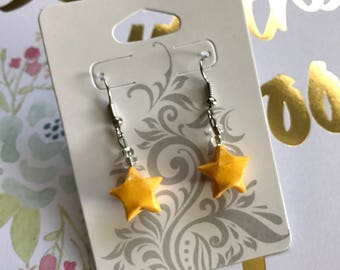 Orange-Yellow Origami Lucky Star Earring (READY TO SHIP)