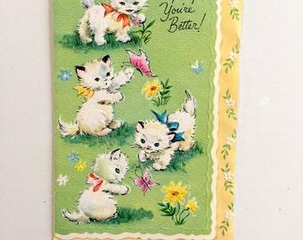 Vintage 1950s Kitten Card UNUSED Card Vintage GET WELL Card Cat Greeting Card Cat Lovers Card Kitten Card White Kittens