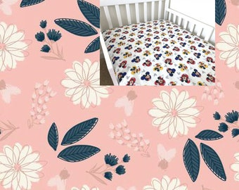 Navy Pink Floral Cotton Fitted Crib Sheet Floral Nursery Bedding Sheet Changing Pad Cover Cradle Mini Crib Toddler Crib Twin Sheet
