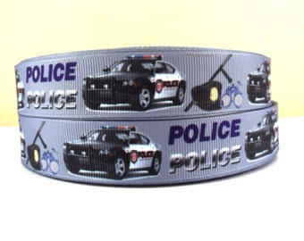 7/8 inch Police on Gray / Grey - POLICE OFFICER POLICEMAN - Printed Grosgrain Ribbon for Hair Bow