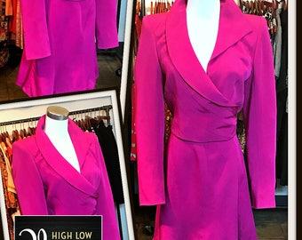 Vintage Claude Montana Pink Fuchsia Jacket Skirt Set Power Suit NOS 1980s Designer FREE SHIPPING