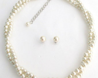 IvoryPearl Nevklace,Twisted Statement Necklace, Wedding Bridal Jewelry, Bridesmaid Necklace Gift Ivory Pearl 2 Strand Necklace Stud Earrings
