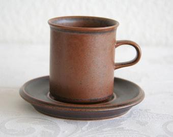 ARABIA RUSKA Coffee Cup + Saucer Set Finnish Design Ulla Precope Stoneware Finland Art Pottery Midcentury Modern Mid Century