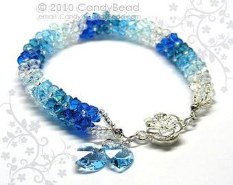 Crystal bracelet; Swarovski bracelet; Glass bracelet;Swarovski Crystal Bracelet, Luxurious Blue Shade Swarovski Crystals
