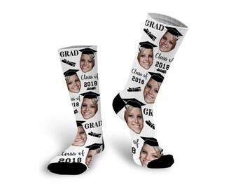 Graduation Gift, Custom Photo Socks, Graduation Socks, Grad Socks, Personalized Socks, Custom Printed Socks  --62149-SOX1-603