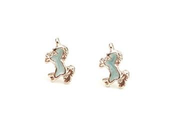 Unicorn Studs Silver, Enamel Unicorn Studs, Blue Unicorn Studs, Silver Unicorn Stud Earrings, Unicorn Jewelry, Unicorn, Vintage Unicorn