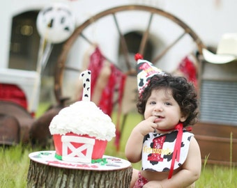 Boys first birthday hat and bib - Cowboy theme in black, white, and red bandana - Free personalization - Keepsake