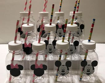 10- Minnie and 10- Mickey Mouse 8 oz or 12 oz Vinyl Cups Plastic Milk Bottles with Lids