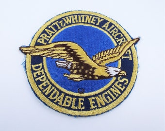 Vintage Pratt & Whitney 'Dependable Engines' Large Sew On Embroidered Patch - 4 Inches - Genuine Authentic Militaria - Flying Eagle Design