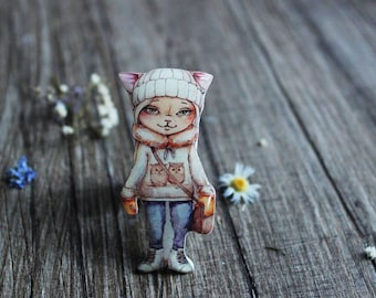 Cat pin Cat brooch cat jewelry cat lover gift birthday girlfriend gift|for|her|under|25 gift|for|sister gifts|for|friends women gift ideas