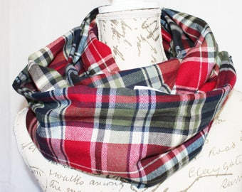 Red, Navy, & Green Plaid Flannel Infinity Scarf with Hidden Zipper Pocket /Christmas Gift/ Travel scarf / Back to school necessity / Gift