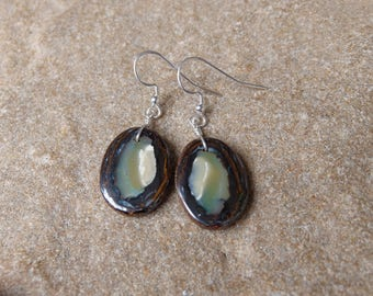 Boulder Opal earrings - earthy, natural -  handmade in Australia by NaturesArtMelbourne - brown jewelry
