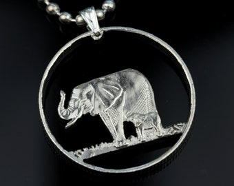 Eritea 100 cents 1997. Elephant Familly Cut Coin Pendant with Necklace