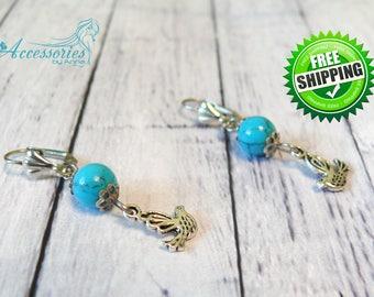 Bird art Birds earrings Bird jewelry Silver bird Turquoise earrings Balance stone Turquoise beads Natural Turquoise Blue crystal earrings