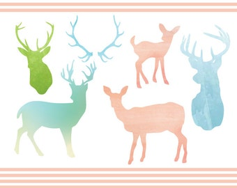Watercolor Deer Clipart Set