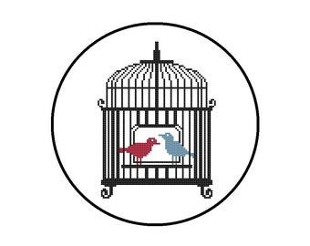 Modern Cross Stitch Pattern - Birdcage Silhouette - Instant Download PDF