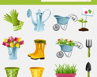Garden Equipments Clipart. Carden Tool Clipart. Garden Clipart. Garden Digital Images 282