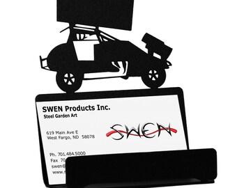 Sprint Car Auto Racing Metal Business Card Holder