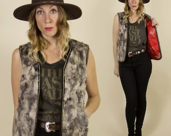 Vintage 70s/80s Reversible Fur & Red Satin Vest with Floral Print