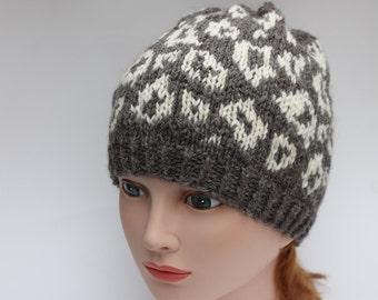 Hand Knit Leopard Hat, Knit Wool Women Hat, Warm Winter Hat