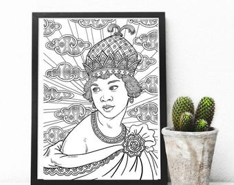 African Goddess Adult Colouring Page, Printable Coloring Pages Zen Doodle Art - Queen Nzingha