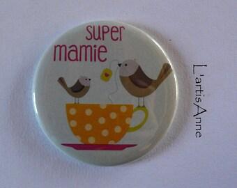 Super Grandma Magnet / Pocket mirror / Badge pin gift Grandma grandmother.