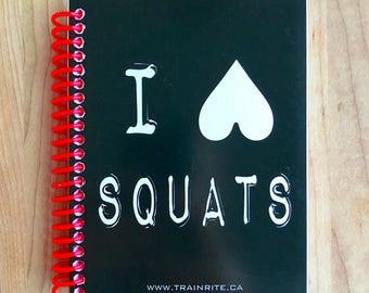I HEART SQUATS (Black) - TrainRite Compact Fitness Journal