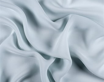 Pale Blue Silk Double Georgette, Fabric By The Yard
