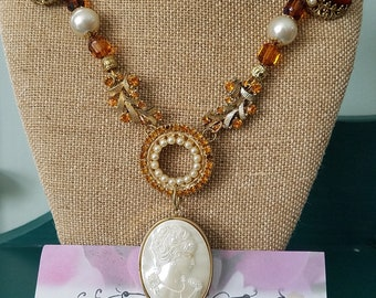 Assemblage Necklace - Gold, Pearl and Amber