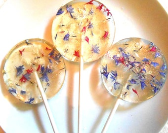 FLOWER LOLLIPOPS Bachelor Button Florets, Red, White and Blue, Edible Favors, Bachelor Buttons, Giant Lollipops, Mothers Day, 3